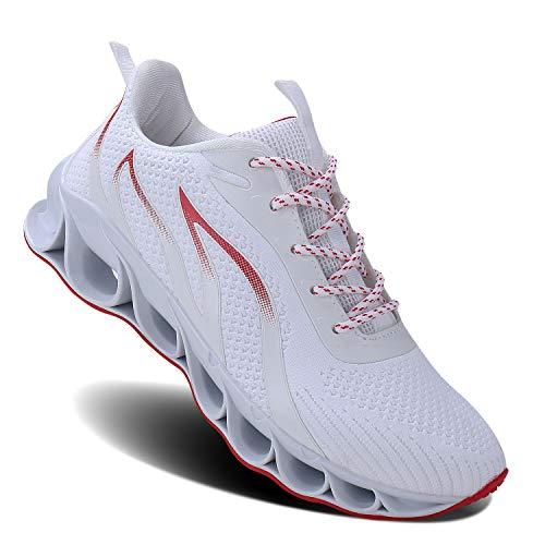 MOSHA BELLE Men Athletic Shoes Mesh Blade Running Walking Sneaker, 3white, 10.5
