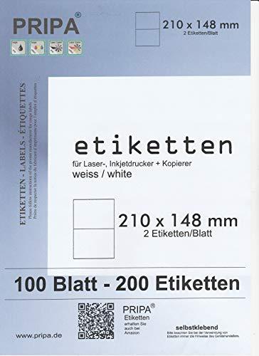 200 Etiketten 210x148mm selbstklebend, 2 Stück auf einem Blatt A4-insgesamt 100Blatt, allround-Qualität weiss