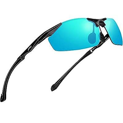 ATTCL Polarized UV Protection Sports Fishing Driving Sunglasses for Men Al-Mg Metal Frame Ultra Light 8585 Blue
