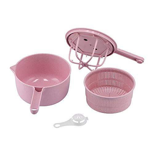 Alvinlite Escurridor de Verduras, centrifugadoras de ensaladas multifuncionales, Lavadora de Verduras, Cesta de Cocina, Accesorios de Cocina(One Size-Rosado)