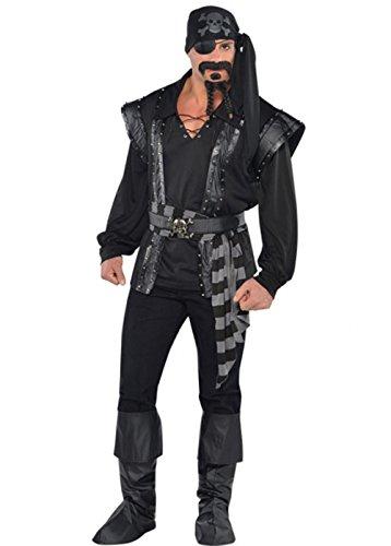 Traje de pirata de mar oscuro para hombre, XL.