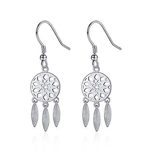 Sterling Silver Dreamcatcher Earrings For Women Boho Rustic Jewelry Hope Dream Ethnic Dangle Earring