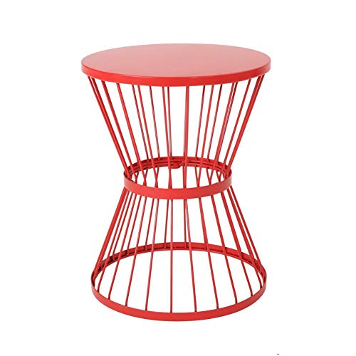 "Christopher Knight Home Lassen Outdoor 16"" Iron Side Table, Matte Red"