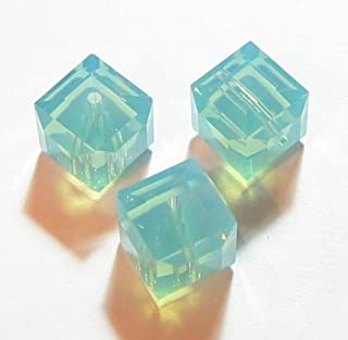 4 pcs Swarovski Crystal 5601 Cube Bead Spacer Pacific Opal 6mm / Findings/Crystallized Element