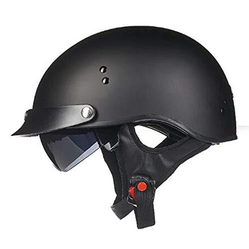ZLYJ Retro Motorrad Helm, Halbschale Vintage Style Harley Helm mit Visier, Halbschalenhelm ECE Zertifizierung Jethelm Für Damen Und Herren, für Cruiser Chopper Biker