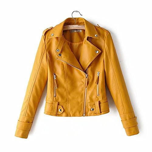 DANWJDP Chaqueta De Cuero para Mujer,Primavera Otoño Mujer Chaqueta De Cuero De Imitación Diseño Corto Cremalleras Epaulet Moda Abrigos Señoras Amarillo Suave Cuero PU Moto Biker Outwear Slim