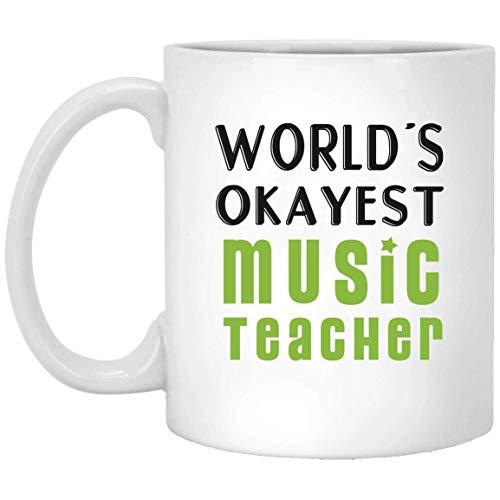 N\A World_s Okayest Music Teacher - con Mango Verde - Funny Music Teacher Gift Taza Blanca 01_WM926 MUG 15oz