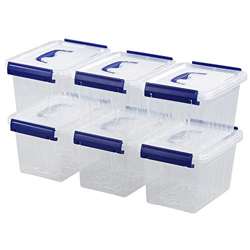 Waikhomes 3L Plastic Storage Containers Set of 6, Latching Storage Bin with Handle (Blue Handle)
