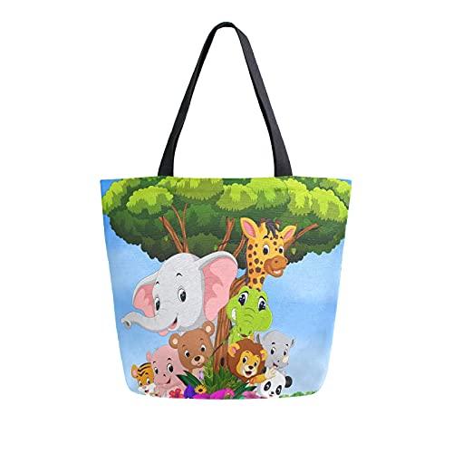 SunsetTrip Bolsa de lona para mujer, linda bolsa de hombro de jirafa de elefante de animales reutilizable bolsa de compras grande bolsa de compras bolsa de compras con bolsillo interior