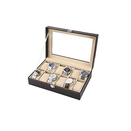 XZJJZ Titular de la joyería Box- con Tapa de Vidrio, con la Caja extraíble Almohada, Forro de Terciopelo, Cierre Broche, Premium exhibición del Reloj, imitación de Cuero, Negro