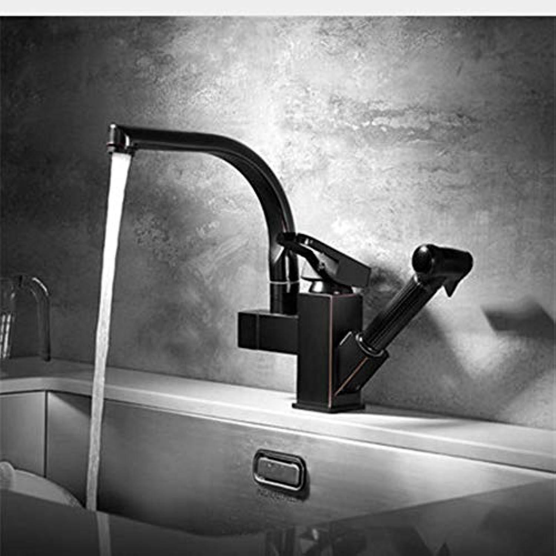 Lddpl Wasserhahn Küchenarmatur, Schwarz l Gebürstet Messinghhne Für Küchenspüle Herausziehen Frühling Auslauf Mischbatterie Hei Kalt Mischbatterie
