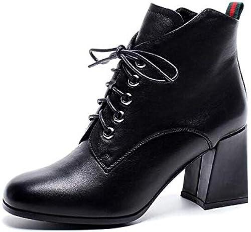 IWxez botas de Moda para mujer botas de otoño de Cuero Nappa Tacón Grueso Botines con Punta Cerrada Botines negro marrón   verde Militar