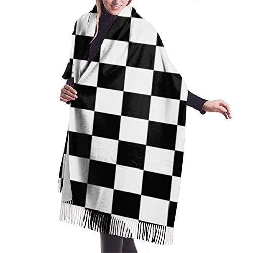"Tablero de ajedrez Manta, tapiz, chal grande invierno grueso cálido bufanda abrigo chal 77""X 27"""