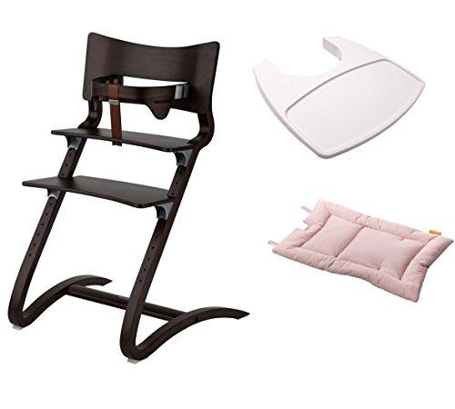 Leander Stuhl walnuss - Hochstuhl - Kinderstuhl - Erwachsenenstuhl mit Babybügel + Tablett weiß + Kissen soft pink