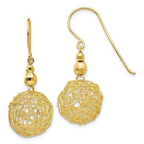Pendientes de oro amarillo de 14 quilates con alambre pulido facetado envuelto en gancho de pastor, cuentas de espejo y bola de alambre, joyería regalos para mujeres