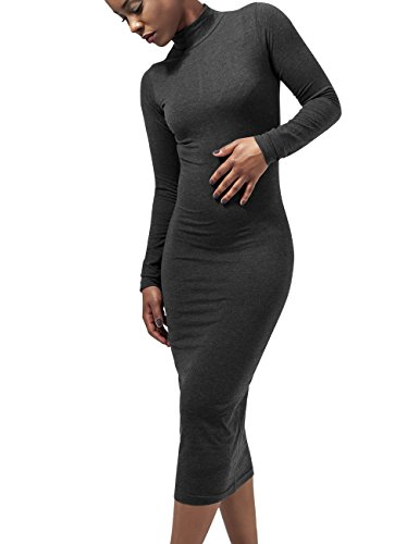 Urban Classics Ladies Turtleneck L/S Dress Vestito, Grigio (Charcoal 91), L Donna