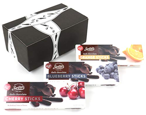 Sweet's Dark Chocolate Sticks 3-Flavor Variety: One 10.5 oz Package Each of Orange, Blueberry, and Cherry in a BlackTie Box (Pack of 3)