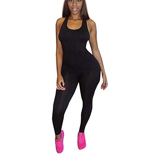 Corriee Womens Bodysuit Sleeveless Athletic One Piece Bodycon Romper Jumpsuit Black