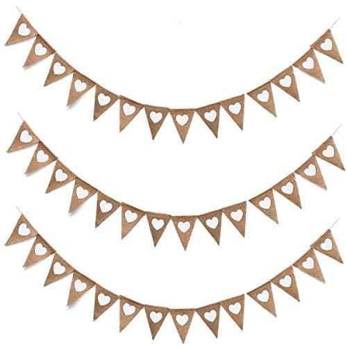 Oumezon 3 stuks vlaggetjes linnen bruiloft vintage hart jute bonting banner (elke ketting ca. 3,5 m lang) slinger bruiloft wimpelslinger jute wimpel banner vintage hart voor verjaardag
