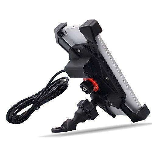 Kriogor Porta Cellulare Moto, Universale Rotante Porta Telefono Moto con Impermeabile 2A Porta di Ricarica USB per 3.5 a 6 Pollici Screen iPhone/Samsung/Huawei
