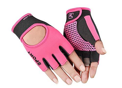 Biking Gloves Kids Boys Girls Cycling Exercise Gloves Half Finger Fingerless Gloves Child Motor Bike Riding Anti-Slip Weight Lifting Bike Workout Climbing Bicycle Gloves Gym Skate Gloves (Pink)