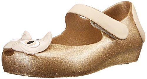 Mini Melissa Ultragirl II Mary Jane Flat (Toddler), Gold Glitter, 7 M US Toddler