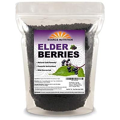 Dried Elderberries - Naturally Grown, Whole European Elder Berries, Responsibly Wild Crafted - Sambucas Nigra (1 Pound) - Bulk Resealable Bag
