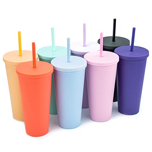 Tumblers with Lids (8 pack) 22oz Pastel Colored Acrylic Cups with Lids and Straws | Double Wall Matte Plastic Bulk Tumblers With FREE Straw Cleaner! Vinyl Customizable DIY Gifts (Pastels)