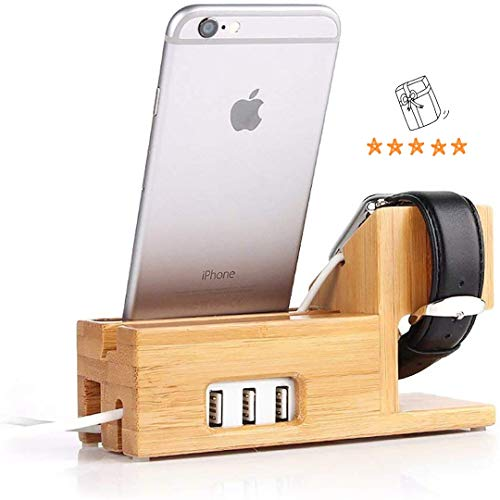 Compatible with Apple Watch Stand USB Charging Stand -Hunter-k Phone Stand with 3 USB Charging Port Bamboo Wood Charging Dock Station for Apple Watch 5/4/3/2/1 iPhone 11 Pro Max/X/XS/XR/Xs /8/8 Plus