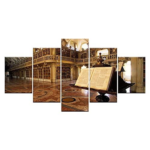 Cuadros Modernos Impresión De Imagen Artística Digitalizada Biblioteca Del Monasterio Del Palacio Lienzo Decorativo Para Tu Salón O Dormitorio (5 Piezas 150 X 80Cm)