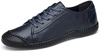FYKHVF Men's Leather Breathable Casual Shoes Suture Soft Bottom lace-up Shoes