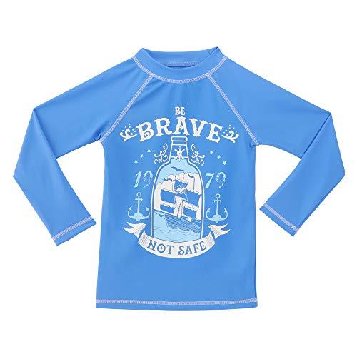 TIZAX Rash Guard Bambino Maglia Nuoto UV Protettiva con Maniche Lunga Costume da Bagno per Ragazzi Asciugatura Rapida Blu 116