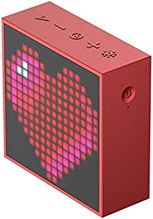 ZYZRYP Divoom Timebox Evo Bluetooth Portable Speaker with Clock Alarm Programmable LED Display for Pixel Art Creation Unique gift (Color : Matte red)