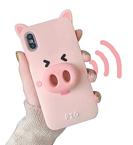 UnnFiko Cute Cartoon Case Compatible with iPhone 7 Plus/iPhone 8 Plus, Loudspeaker Sound Amplifying Design, 3D Soft Silicone Protective Case Cover (Pig, iPhone 7 Plus / 8 Plus)