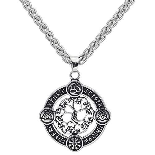 NICEWL Viking Compass Yggdrasil Rune Circle Colgante Collar, Hombres Acero Inoxidable Nudo Celta Valknut Amuleto, Hip Hop Punk Suéter Clavícula Cadena Accesorios