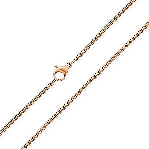 Bling Jewelry Unisex Thin Strong Simple Basic 2MM Rose Gold Chapado Acero Inoxidable Básico Veneciano Caja Eslabón Cadena Collar para Hombres Mujeres 18 Pulgadas