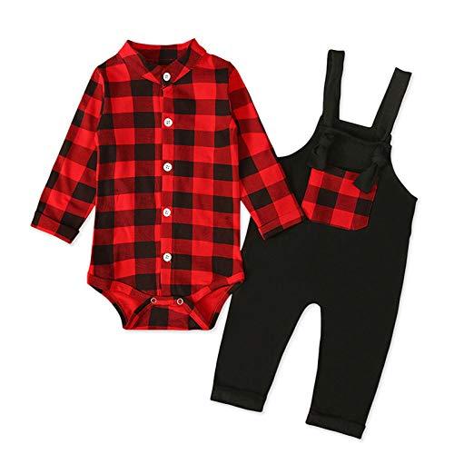 Conjunto de 2 piezas para bebés recién nacidos y niñas de 0 a 24 meses de manga larga con botón frontal y pantalones de tirantes lisos.