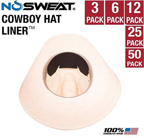 Cowboy Hat Sweat Liner & Riding Helmet Liner - NoSweat - 3   6   12   25   50 Pack