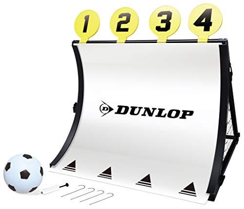 Dunlop - Portería de fútbol Unisex 4 en 1, con balón de fútbol, Bomba, Diana y piquetas, 78 x 75 x 58 cm, Color Negro y Amarillo, 78 x 58 x 75 cm