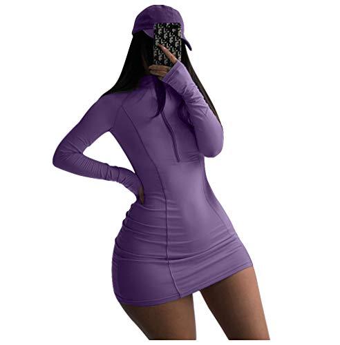 XLLAIS Womens Half Zipper Long Sleeve Bodycon Mini Dress Outfit Purple M