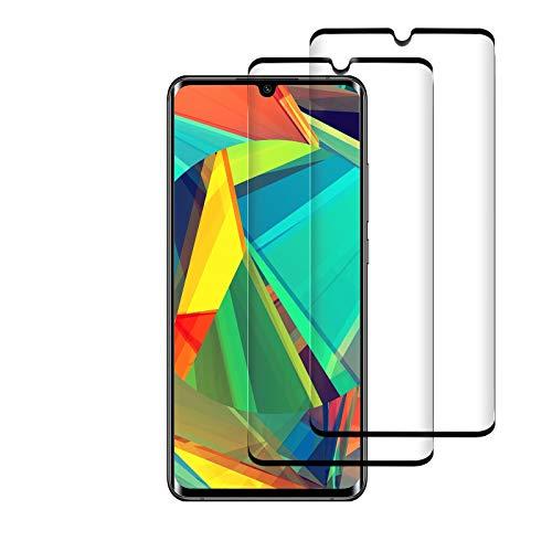 [2 Pièces] Verre Trempé pour Xiaomi Mi Note 10/Note 10 Pro/CC9 Pro, Film de Protection D'écran, 9H Dureté, Anti Rayures, sans Bulles, 3D Incurvé, Protection Ecran pour Note 10/10 Pro/CC9 Pro (Noir)