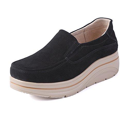 LILY999 Mocassini Donna in Pelle Scamosciata Moda comode Loafers Scarpe da Guida Scarpe con Zeppa(Nero,35 EU)