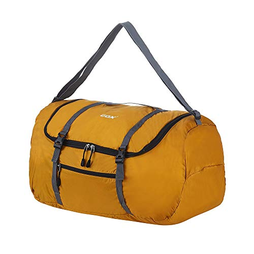 GOX Foldable Travel Duffel Bag Sports Gym Carry On Bag Lightweight Water Resistant Nylon, Luggage Tote Bag For Men & Women 40L(Yellow)