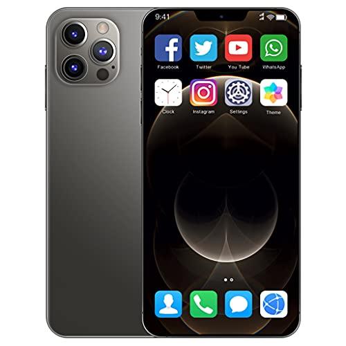 I12ProMax 4G Moviles Libres Barato, 6.7 Pulgadas Smartphone Libre Dual SIM, 4GB RAM+64GB ROM, 24MP+48MP, 5800mAh Teléfono Móvil Baratos y Buenos,Negro