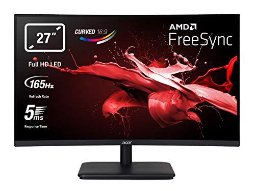 "Acer ED270RPbiipx Monitor Gaming Curvo FreeSync, 27"", Display VA Full HD, 165 Hz, 5 ms, 16:9, HDMI 1.4, Schermo PC con Contrasto 100M:1, Lum 250 cd/m2, ZeroFrame, Audio Out, Nero"