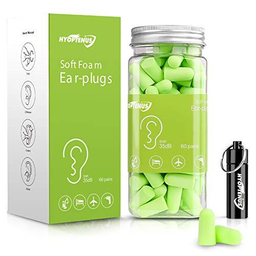 Hyoptenus Lot de 60 paires de bouchons d'oreille en mousse souple avec étui de transport en aluminium SNR 35 dB Réduction du bruit, protection auditive, sommeil, travail, voyage Vert