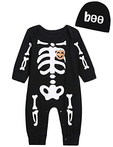 Aslaylme Baby Boy Halloween Costume Outfit Toddler Skull Bodysuit (Black,12-18 Months)