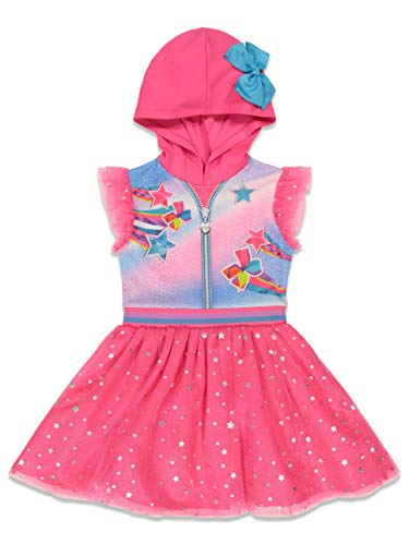 JoJo Siwa Little Girls Hooded Costume Flutter Sleeved Dress Bow Pink 4-5