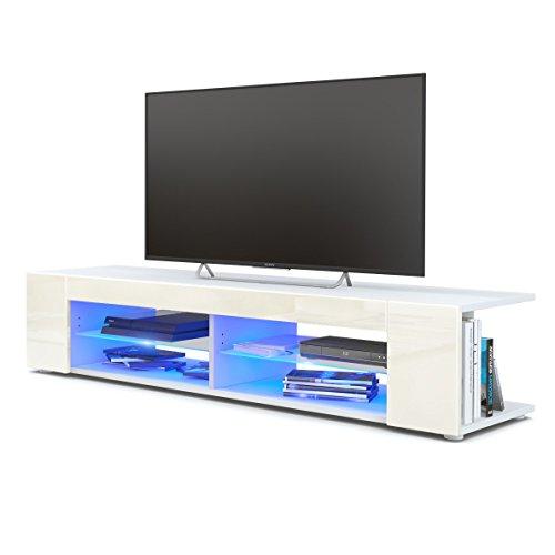 TV Board Lowboard Movie, Korpus in Weiß matt/Fronten in Creme Hochglanz inkl. LED Beleuchtung in Blau