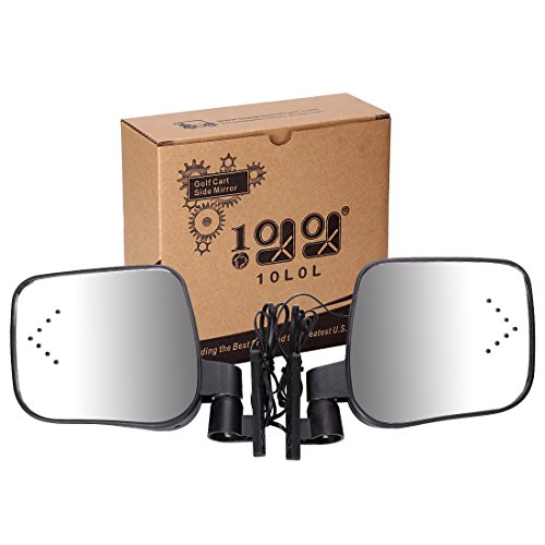 10L0L Side Rear View Mirror Set with Turn Signals for EZGO Club Car Yamaha Gas & Electric Golf Carts
